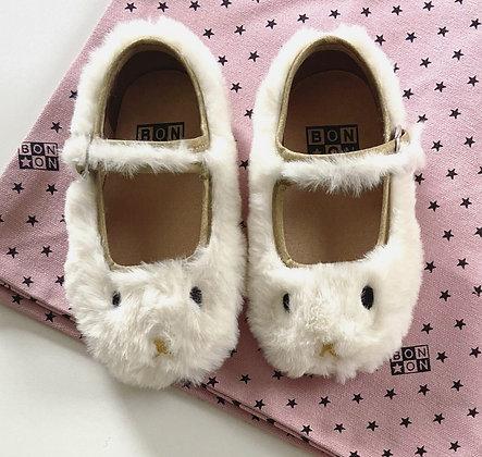 Bonton/Bonbon Fur Slippers (White)