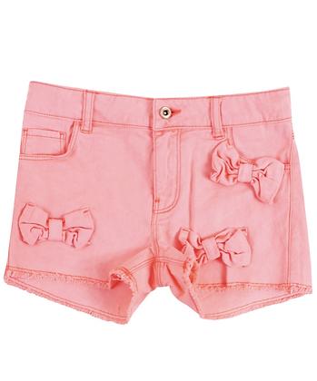 Billieblush Cotton Twill Shorts With Bows (Peach)