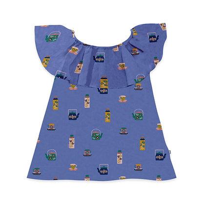 Oeuf Ruffle Colar Dress (Iris)
