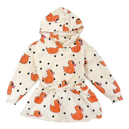 Hugo Loves Tiki Hoodie Sweater Dress (Cream Rubber Ducky)
