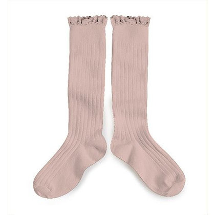 Collégien Lace-Trim Knee-High Socks (No.331 Vieux Rose)