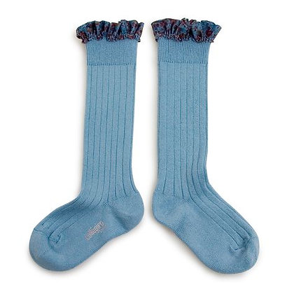 Collégien Liberty Ruffle Knee-High Socks (No. 803 Bleu Azur)