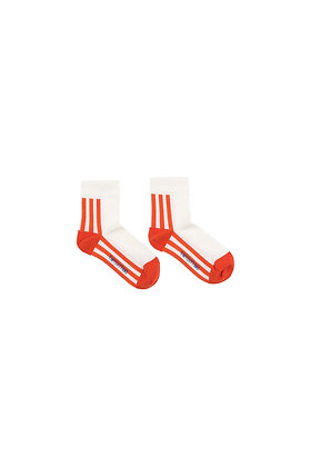 Tiny Cottons 'STRIPES' Quarter Socks (Off-white/Red)