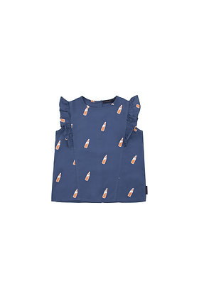 Tiny Cottons 'SODA BOTTLES' Ruffles Blouse (Light navy/Brown)