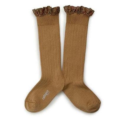 Collégien Liberty Ruffle Knee-High Socks (No.779 Caramel au Beurre Salé)