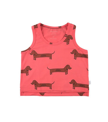 "Tiny Cottons ""Il Bassotto"" Tank Top (Light Red/ Dark Brown)"