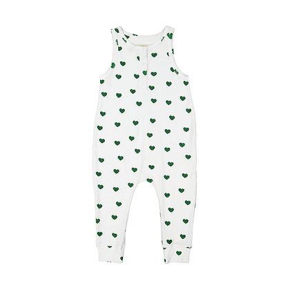 Hugo Loves Tiki Terry Long Leg Romper - Green Hearts