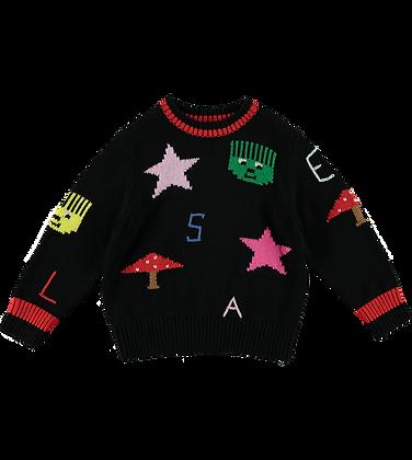 Stella McCartney Kid Geometric Intarsia Jumper (Black)