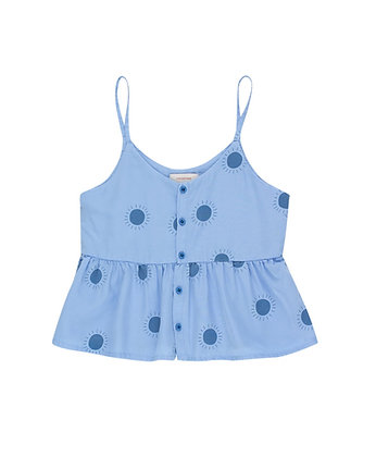 "Tiny Cottons ""Sun"" Blouse (Cerulean Blue/Summer Navy)"