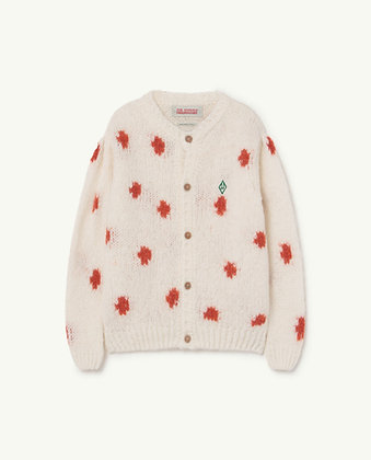 The Animals Observatory Dots Racoon Kids Cardigan (White Logo)
