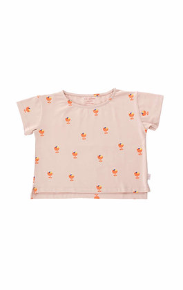 Tiny Cottons Ice Cream Cup Crop Tee (Dusty Pink/Papaya)