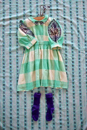 Bonjour Marie Dress with Embroidery  (Vichy Mint Check)