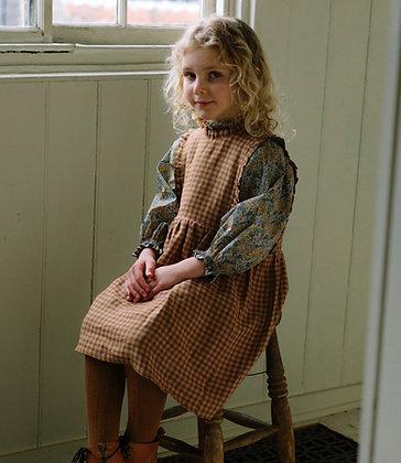 Nellie Quats Marlow Pinafore (Rose & Caramel Check Linen)