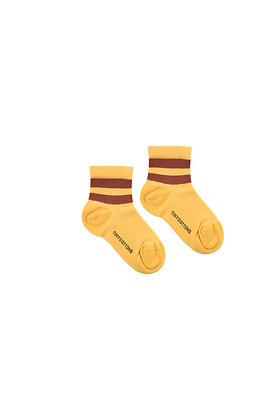 Tiny Cottons Stripes Quarter Rib Socks (Yellow/Dark Brown)