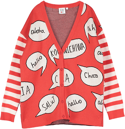 Beau Loves Speech Bubbles Knit Cardigan (Red)