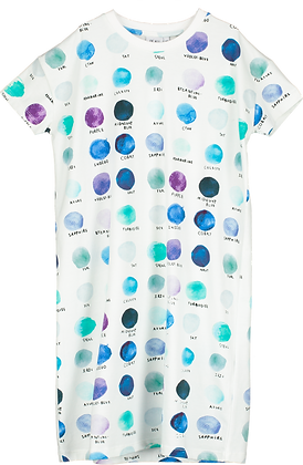 Beau Loves T-shirt Dress (Natural/Paint Pallet Dots)