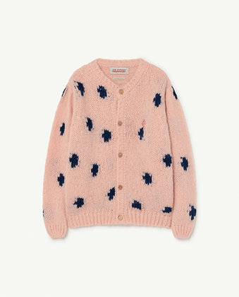 The Animals Observatory Dots Racoon Kids Cardigan (Soft Pink Logo)
