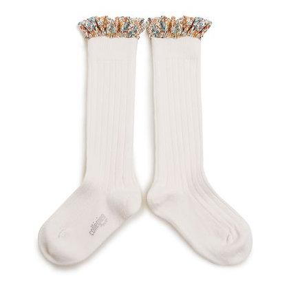 Collégien Liberty Ruffle Knee-High Socks (No. 908 Blanc Neige)