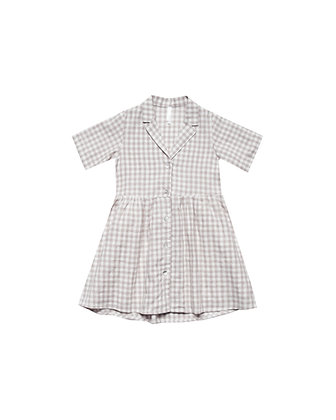 Rylee + Cru Gingham Jeanette Dress (Grey/Ivory)