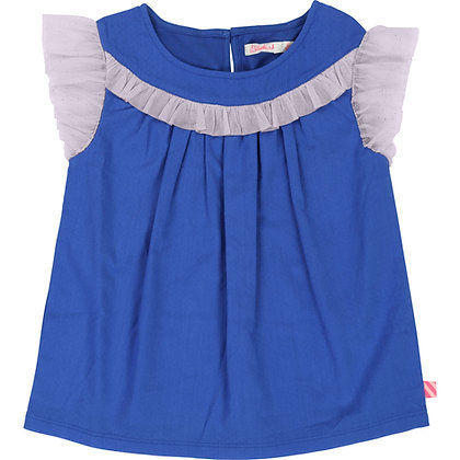Billieblush Blouse With Tulle Sleeve And Trim (Blue)