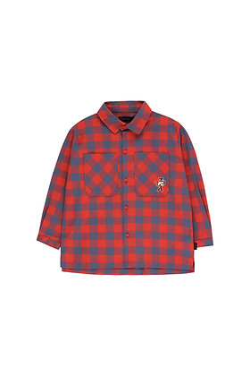 Tiny Cottons Small Check 'Cat' Shirt (Burgundy/Dark Lilac)