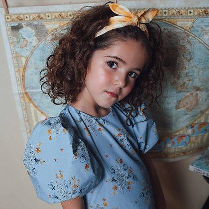 Birinit Petit Flor Soplillo Big Lantern Short Sleeve Dress