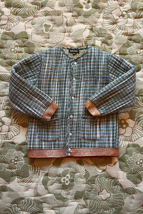 Bonjour Quilted Jacket with Cotton Filling  (Ikat Check)
