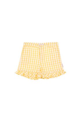 Tiny Cottons Check Short (Off-white/Canary)
