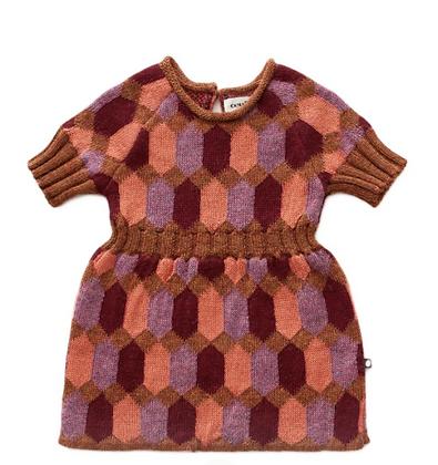 Oeuf Diamond Pattern Dress (Hazelnut/Multi)