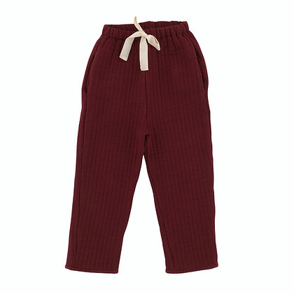 Liilu Quilted Pants (Berry Red)