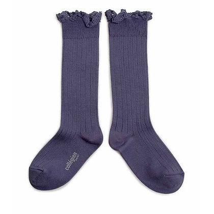 Collégien Lace-Trim Knee-High Socks (No.777 Fleur de Lavande)