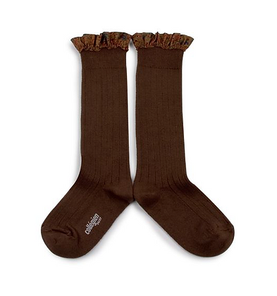 Collégien Liberty Ruffle Knee-High Socks (No. 786 Chocolat au lait)