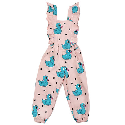 Hugo Loves Tiki Ruffle Jumpsuit (Pink Rubber Ducky)