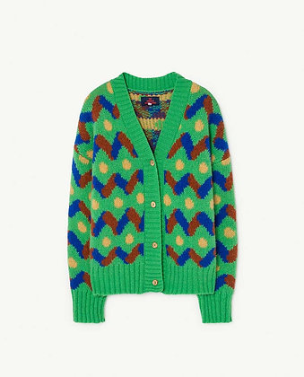 The Animals Observatory Multicolor Racoon Kids Cardigan (Green)
