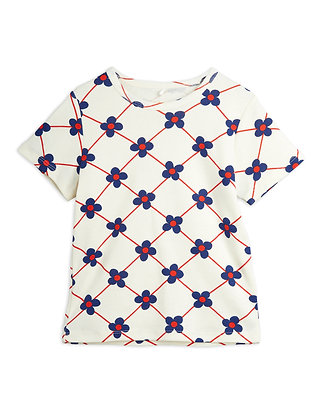 Mini Rodini Flower Check Tee (Offwhite)