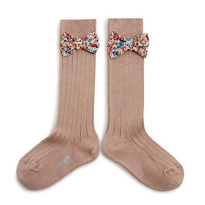Collégien Liberty Bow Knee-High Socks (No. 226 Petite Taupe)