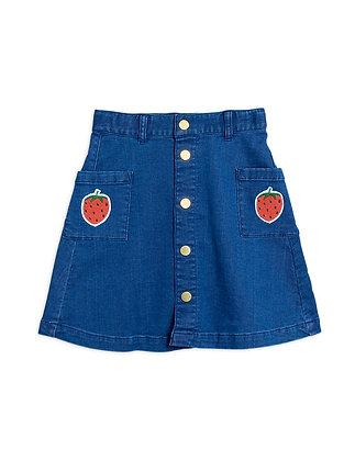 Mini Rodini Denim Strawberry Skirt (Blue)