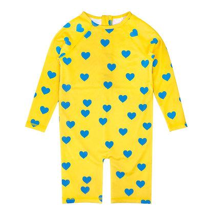 Hugo Loves Tiki Rash Guard - Yellow Blue Hearts