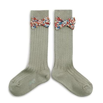 Collégien Liberty Bow Knee-High Socks (No. 876  Aigue Marine)