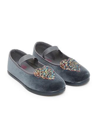 Bonton/Bonbon Heart Slippers (Dark Gray)