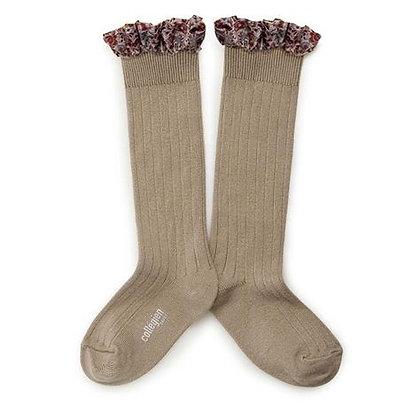 Collégien Liberty Ruffle Knee-High Socks (No.226 Petite Taupe)