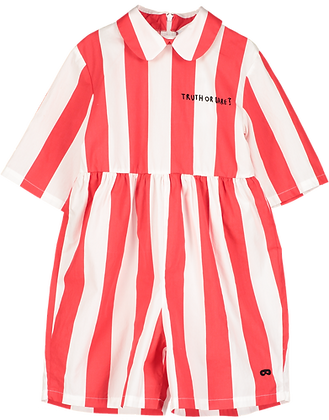 Beau Loves Deck Chair Stripe Playsuit (Ecru/ Tomato Red)