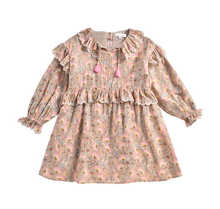 Louise Misha Eforie Dress (Khaki Folk Flowers)