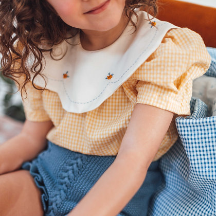 Birinit Petit Yellow Vichy Round Embroidered Collar Shirt