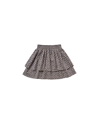 Rylee + Cru Ditsy Tiered Mini Skirt (Washed Indigo)