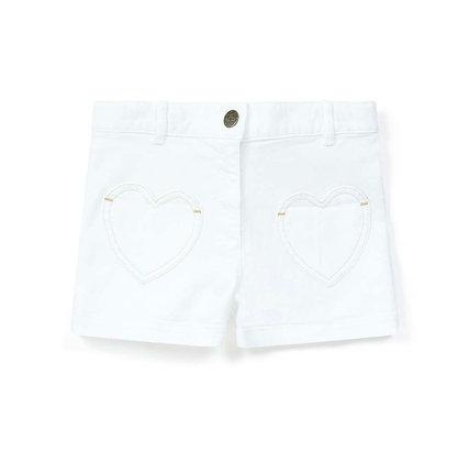 Bonton/Bonbon Heart Denim Shorts (White)