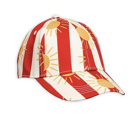 Mini Rodini Sun Stripe Cap (Red)