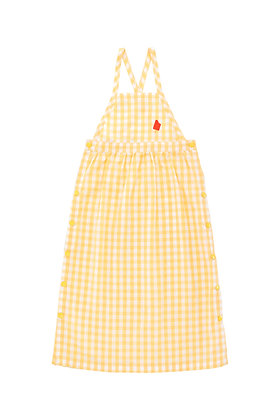 Tiny Cottons Check Dress (Off-white/Canary)