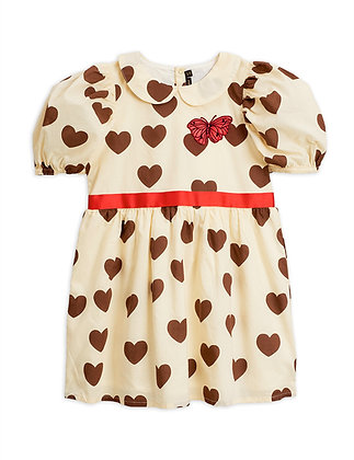 Mini Rodini Hearts Woven Dress (Offwhite)