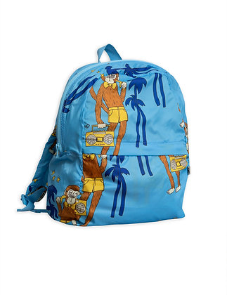 Mini Rodini Cool Monkey Light Weight Backpack (Light Blue)